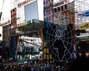 Stage view of Live Aid at JFK Stadium in Philadelphia